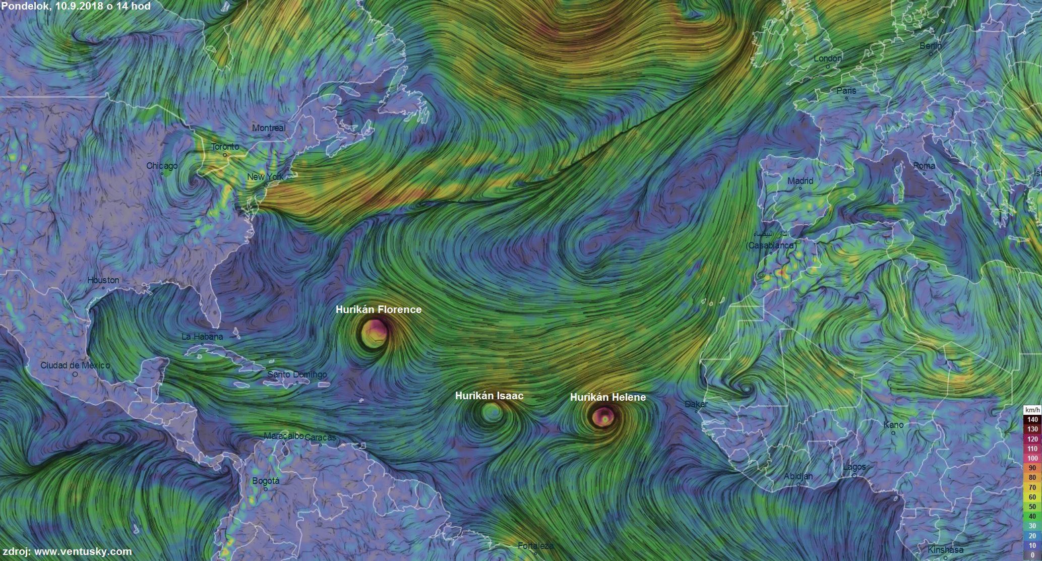 V Atlantickom oceáne sú súčasne až 3 hurikány