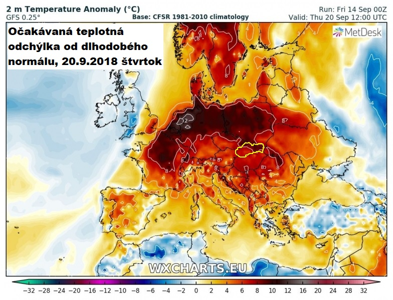 Očakávaná teplotná odchýlka od dlhodobého normálu, 20.9.2018
