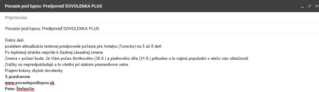 Doplňujúce info e-mailom počas dovolenky