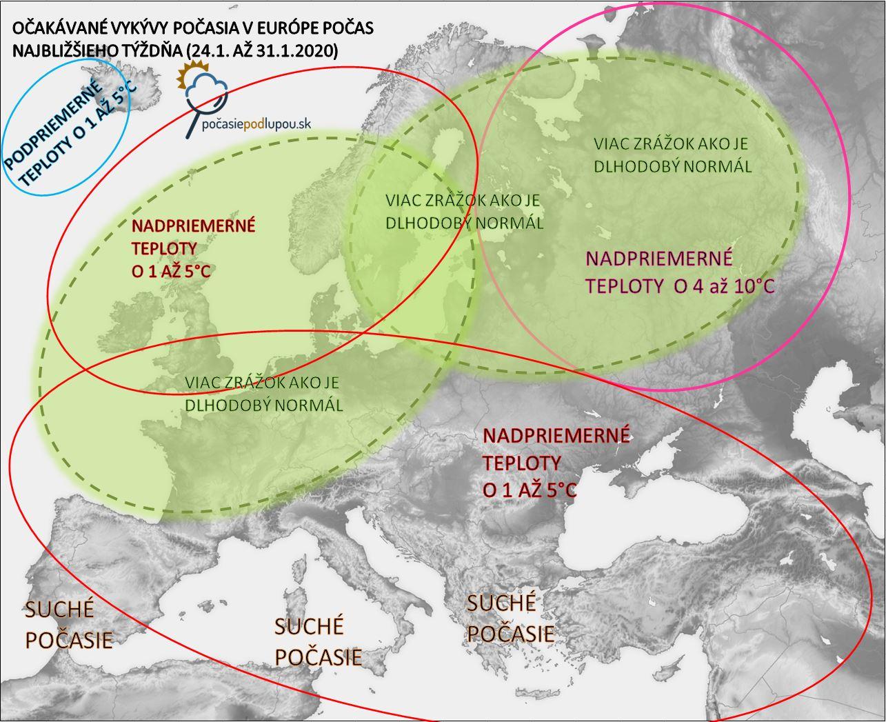Predpokladané výkyvy počasia v Európe a snehová pokrývka v Európe